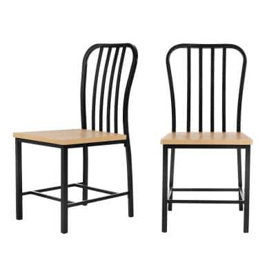 Set of 2 StyleWell Donnelly Black Metal Dining Chair with Wooden Seat