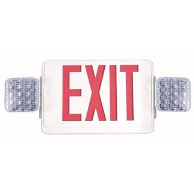 Combo 14-Watt Equivalent Integrated LED White Exit Sign and Emergency Light with Ni-Cad 9.6-Volt Battery
