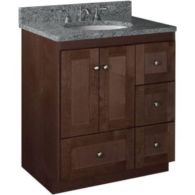 Shaker 30 in. W x 21 in. D x 34.5 in. H Simplicity Vanity with Right Drawers in Dark Alder