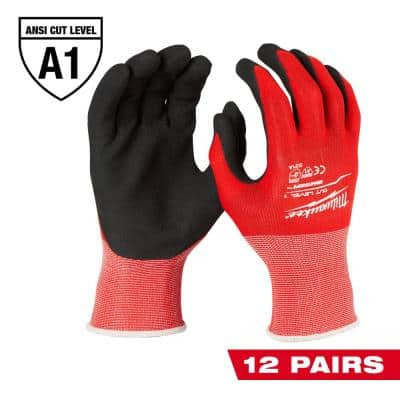 Large Red Nitrile Level 1 Cut Resistant Dipped Work Gloves (12-Pack)