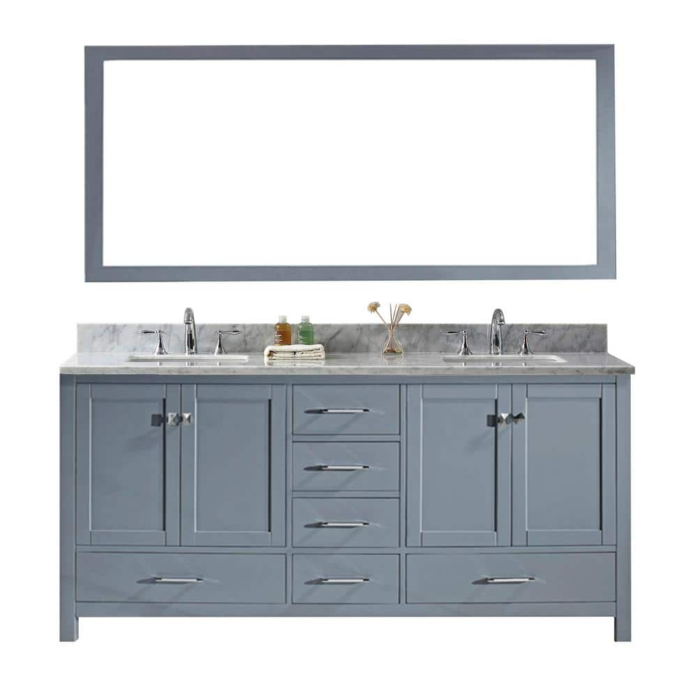 Virtu Usa Caroline Avenue 72 In W Bath Vanity In Gray With Marble Vanity Top In White With Square Basin And Mirror Gd 50072 Wmsq Gr The Home Depot