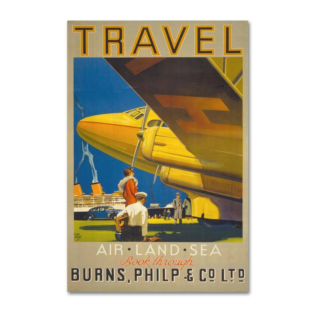 "Art Nouveau Print Vintage AIRPLANE Advertisement Poster 16/""×12/"" Early Flight"