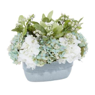 Litton Lane Indoor Teal Glass Natural Plant Artificial Foliage