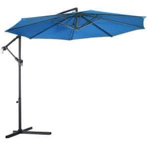 10 ft. Steel Cantilever Tilt Patio Umbrella in Blue with Stand