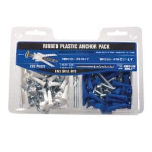 #8-10 White and #10-12 Blue Ribbed Plastic Anchor Pack with Screws (202-Pieces)