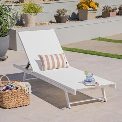 Salton White Metal Adjustable Outdoor Chaise Lounge