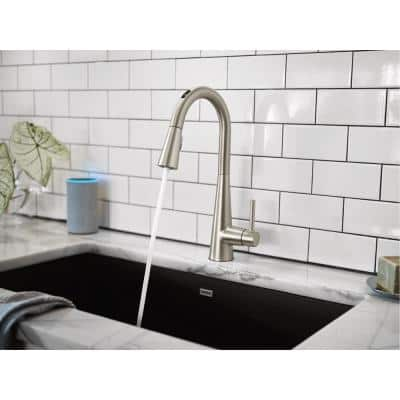 U Sleek Single-Handle Pull-Down Sprayer Smart Kitchen Faucet with Voice Control in Spot Resist Stainless