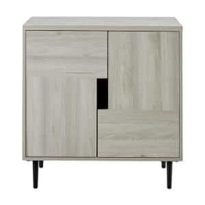 Birch and Magenta Modern Color Pop Accent Cabinet with 2-Doors