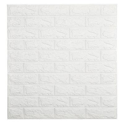 Falkirk Jura II 28 in. x 30 in. Peel and Stick Off White Faux Bricks PE Foam Decorative Wall Paneling (10-Pack)