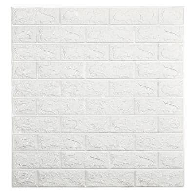 Falkirk Jura II 1/3 in. 28 in. x 30 in. Peel and Stick Off White Faux Bricks PE Foam Decorative Wall Paneling (5-Pack)