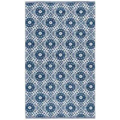 Montauk Navy/Ivory 3 ft. x 5 ft. Floral Geometric Circles Area Rug