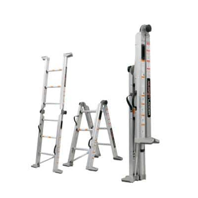 7 ft. Height 10 ft. Reach Aluminum Fully Compactable Multi-Position Ladder 375 lbs. Load Capacity Type IAA Duty Rating
