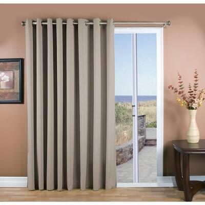 Gray Woven Grommet Room Darkening Curtain - 112 in. W x 84 in. L