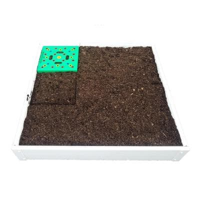 3 ft. x 3 ft. Square Foot Design, Stack-able, White, Vinyl Raised Garden Bed