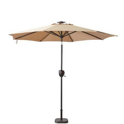 9 ft. Bluetooth Speaker Solar Lighted Market Patio Umbrella in Taupe