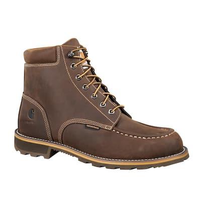 Men's Traditional Waterproof 6'' Work Boots - Steel Toe - Brown Size 14(M)
