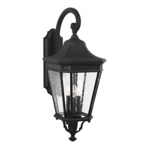 Cotswold Lane 3-Light Black Outdoor 30 in. Wall Lantern Sconce