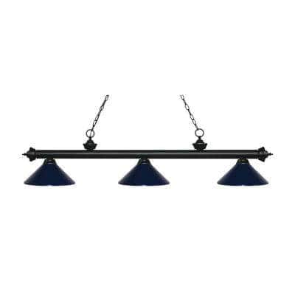 Storick 3-Light Matte Black Island Light with Navy Blue Shades