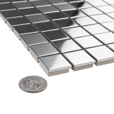 Alloy Square 11-7/8 in. x 11-7/8 in. Stainless Steel Porcelain Mosaic (10 sq. ft./Case)