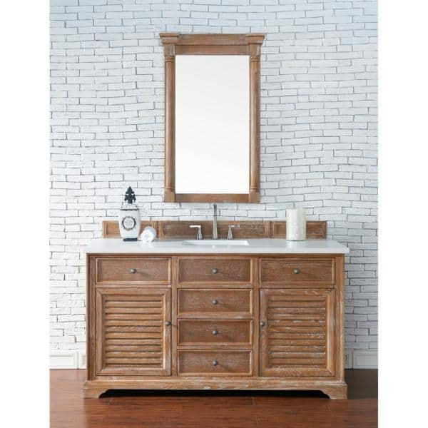 James Martin Vanities Savannah 60 In Single Bath Vanity In Driftwood With Quartz Vanity Top In Classic White With White Basin 238 104 5311 3clw The Home Depot