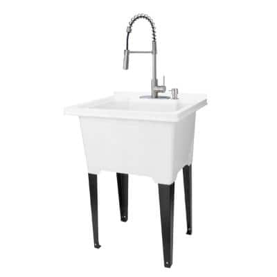 25 in. x 21.5 in. ABS Plastic Freestanding Utility Sink in White - Stainless Hi-Arc Coil Faucet, Soap Dispenser