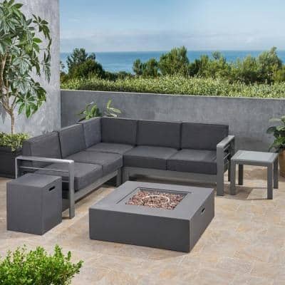 Cape Coral Grey 6-Piece Aluminum Patio Fire Pit Sectional Seating Set with Dark Grey Cushions