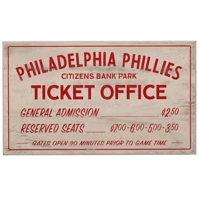 Philadelphia Phillies Vintage Ticket Office Wood Wall Decor