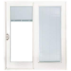 72 in. x 80 in. Smooth White Left-Hand Composite Sliding Patio Door with Low-E Built in Blinds