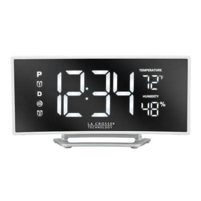 Curved Mirror LED Alarm Clock with Temperature & Humidity, USB Port