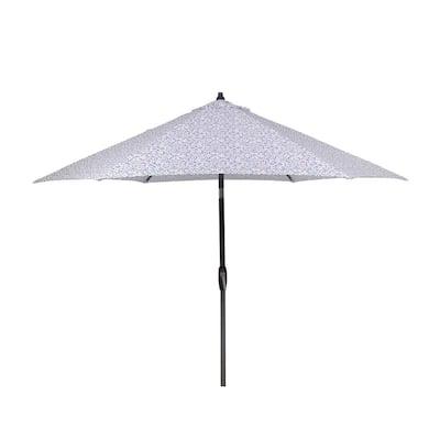 9 ft. Aluminum Market Patio Umbrella in London Trellis Seaglass