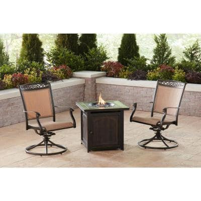 Fontana 3-Piece Aluminum Patio Fire Pit Conversation Set with Swivel Rockers and Fire Pit Side Table
