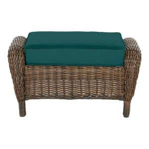 Cambridge Brown Wicker Outdoor Patio Ottoman with CushionGuard Malachite Green Cushions