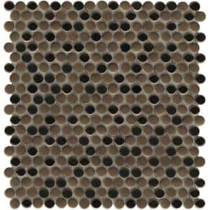 Confetti II Bronze 11.81 in. x 11.81 in. Penny Glossy & matte blend Glass Mosaic Tile (0.969 sq. ft./Each)