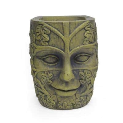 Ash 10.75 in. x 11.75 in. Antique Green Cast Stone Outdoor Mother Earth Urn