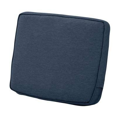 Montlake 23 in. W x 20 in. H x 4 in. Thick Heather Indigo Blue Rectangular Outdoor Lounge Chair Back Cushion