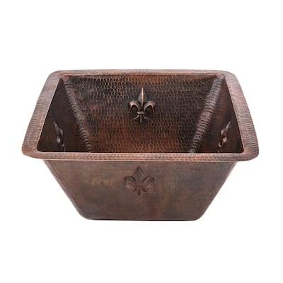 Bronze 16 Gauge Copper 15 in. Undermount Square Fleur De Lis Bar Sink with 3.5 in. Drain Opening