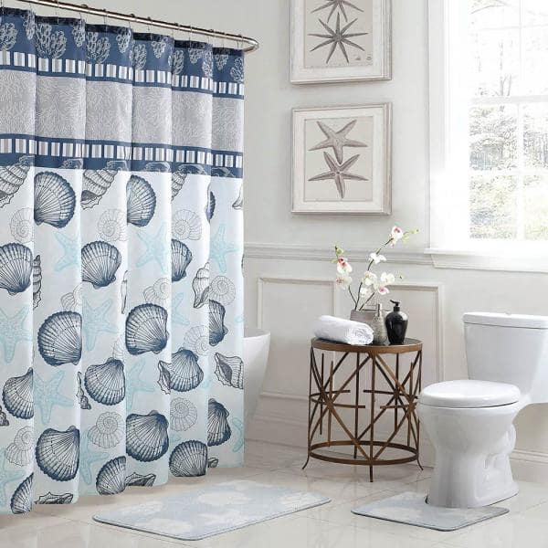 Bath Fusion Island 18 In X 30, Shower Curtains Gray And Blue