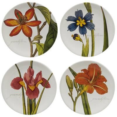 Botanical Floral Multicolored Salad Plates (Set of 4)