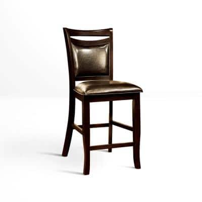 Surna Espresso Leather Counter Height Dining Chair (Set of 2)