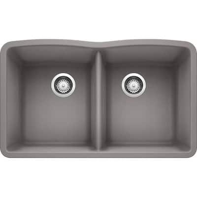 DIAMOND Undermount Granite Composite 32.06 in. 50/50 Double Bowl Kitchen Sink in Metallic Gray