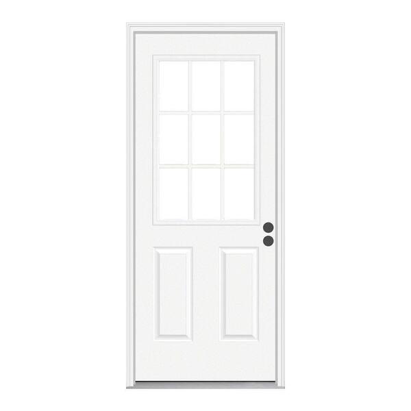 Jeld Wen 32 In X 80 In 9 Lite Primed Fiberglass Prehung Back Door With Brickmould Thdqc231100081 The Home Depot