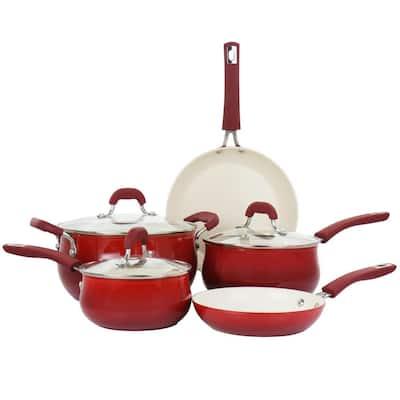 Corbett 8-Piece Nonstick Aluminum Cookware Set in Red