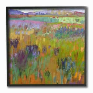 12 in. x 12 in. ''Pastel Painterly Fields and Flowers Landscape'' by Artist Colin John Staples Framed Wall Art