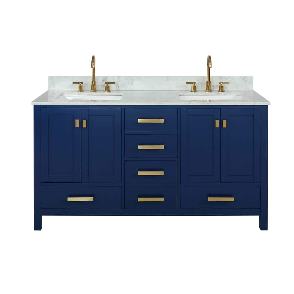 Design Element Valentino 72 In W X 22 In D Bath Vanity In Blue With Carrara Marble Vanity Top In White With White Basin V01 72 Blu The Home Depot