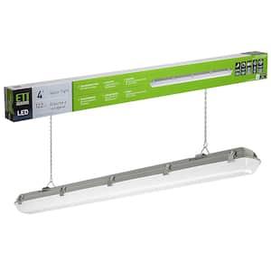 4 ft.96-Watt Equivalence Integrated LED White Strip Light Fixture Vapor Tight 4000K High Output 5400 Lumens Multi-Volt