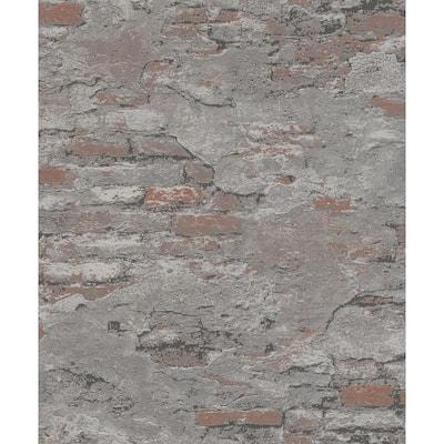 Templier Grey Distressed Brick Grey Wallpaper Sample