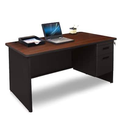 48 in. W x 30 in. D Mahogany Laminate and Black Single Pedestal Desk