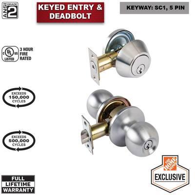 Standard Duty Commercial Satin Chrome Keyed Entry Knob with Single Cylinder Deadbolt Combo