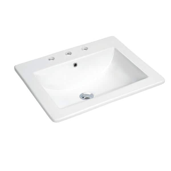 Ipt Sink Company 18 In Drop In Top Mount Rectangular Ceramic Sink Basin In White With Overflow Drain Iptcb2118 The Home Depot