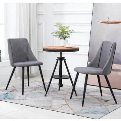 Gray Fashion Upholstered Fabric Side Chair Dining Chairs with Black Legs(Set of 2)